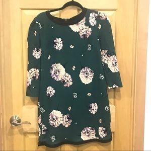 Xhileration Green Floral 3/4 Sleeve Dress
